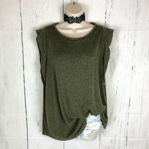 Old navy luxe green flutter sleeve tank top